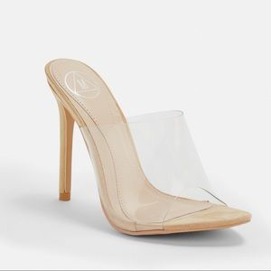missguided nude pointed clear mules